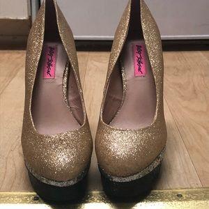 "RARE Betsy Johnson Gold, Silver, black 5"" heels"